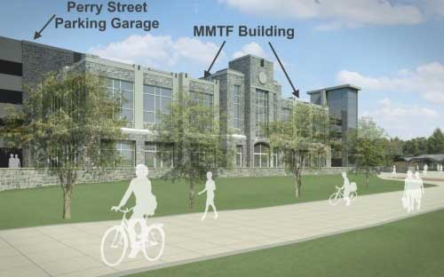 View looking at front of the Multi-Modal Transit Facility